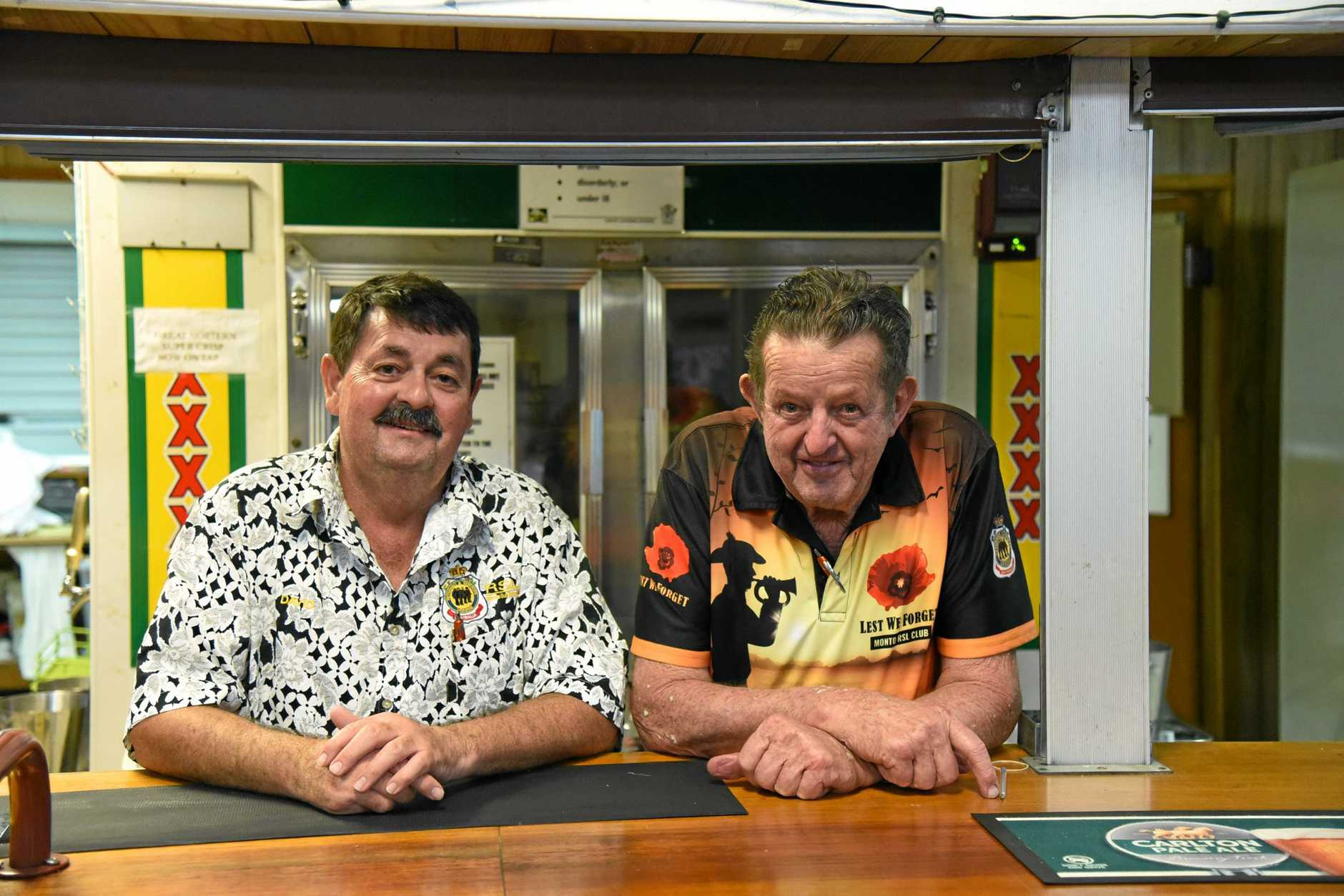 AT WIT'S END: Monto RSL Sub Branch president David Watson and club manager Hector Kilah.