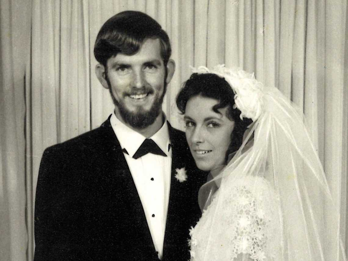 50 YEARS ON: Bob and Keryl on their wedding day on October 11, 1969.