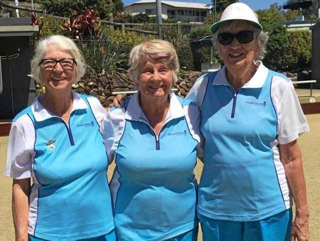 ALL SMILES: Glenys Johnston, Judy Williams and Barbara Sprengel won the Ocean Shores women's triples.