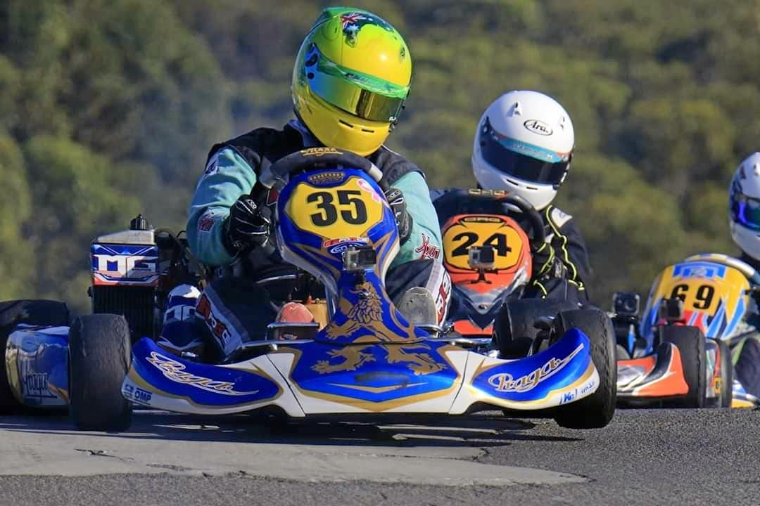NEED FOR SPEED: Wondai driver Gaven Whitmore, who won the State Karting Championships for his class, drives at an average speed of 80km/h around the track.