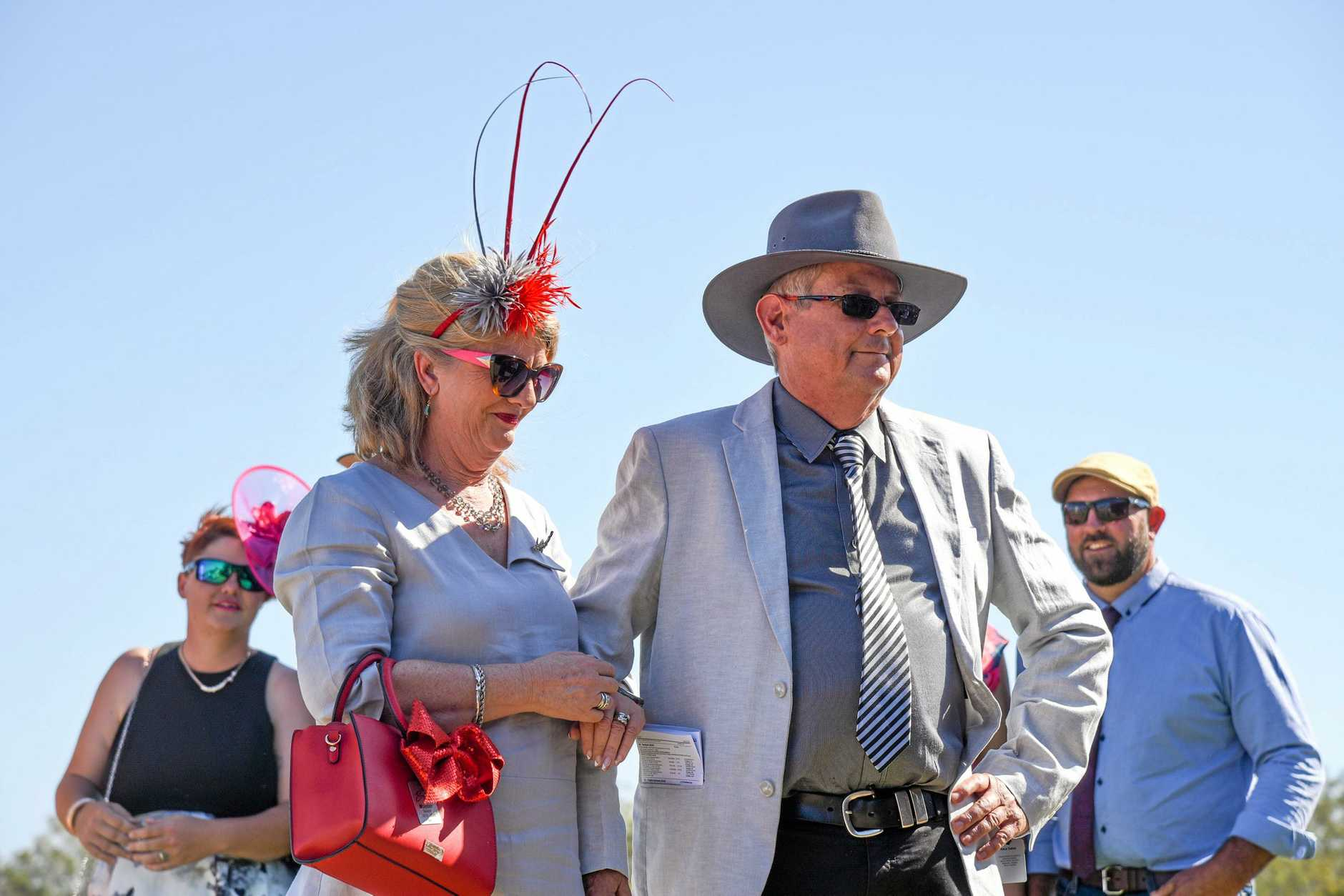 Winners of the 'Delightful Duo' class at Eidsvold Races 2019 Fashions on the Field, David and Margie McIntyre.