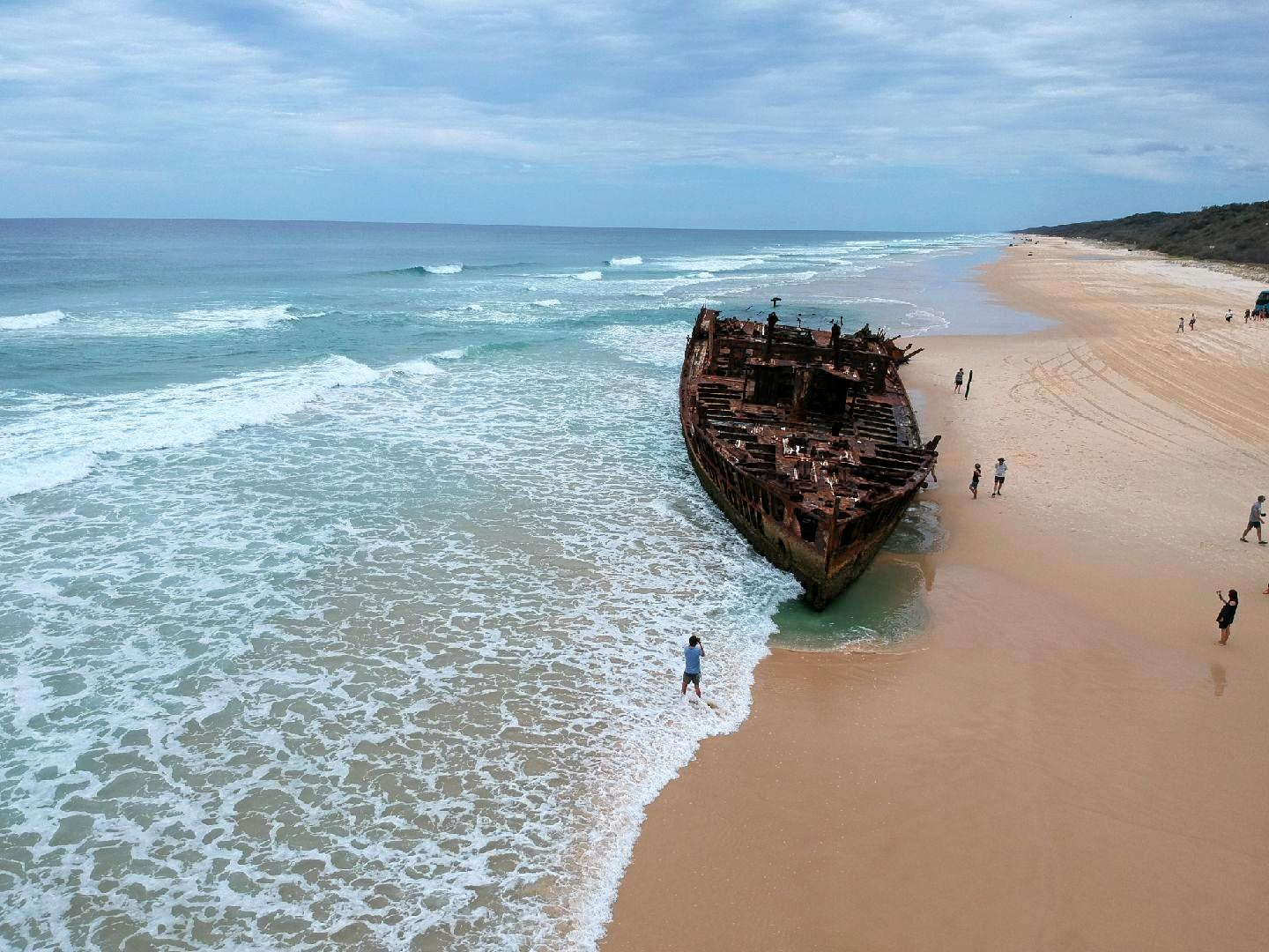 The wreck of the Maheno on Fraser Island.