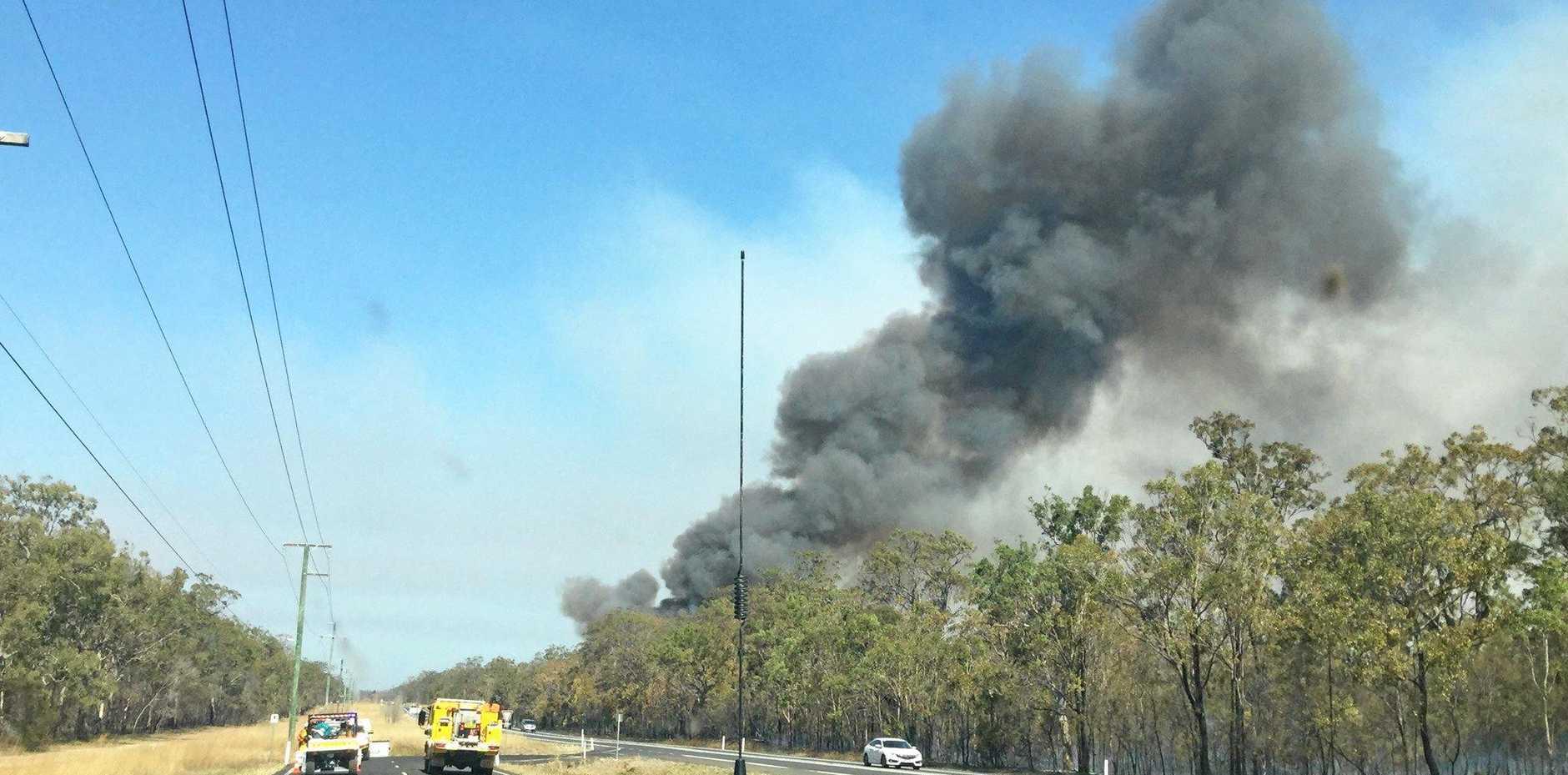 BIG BLAZE: Emergency service crews are fighting at large bushfire at Cherwell, near Howard.