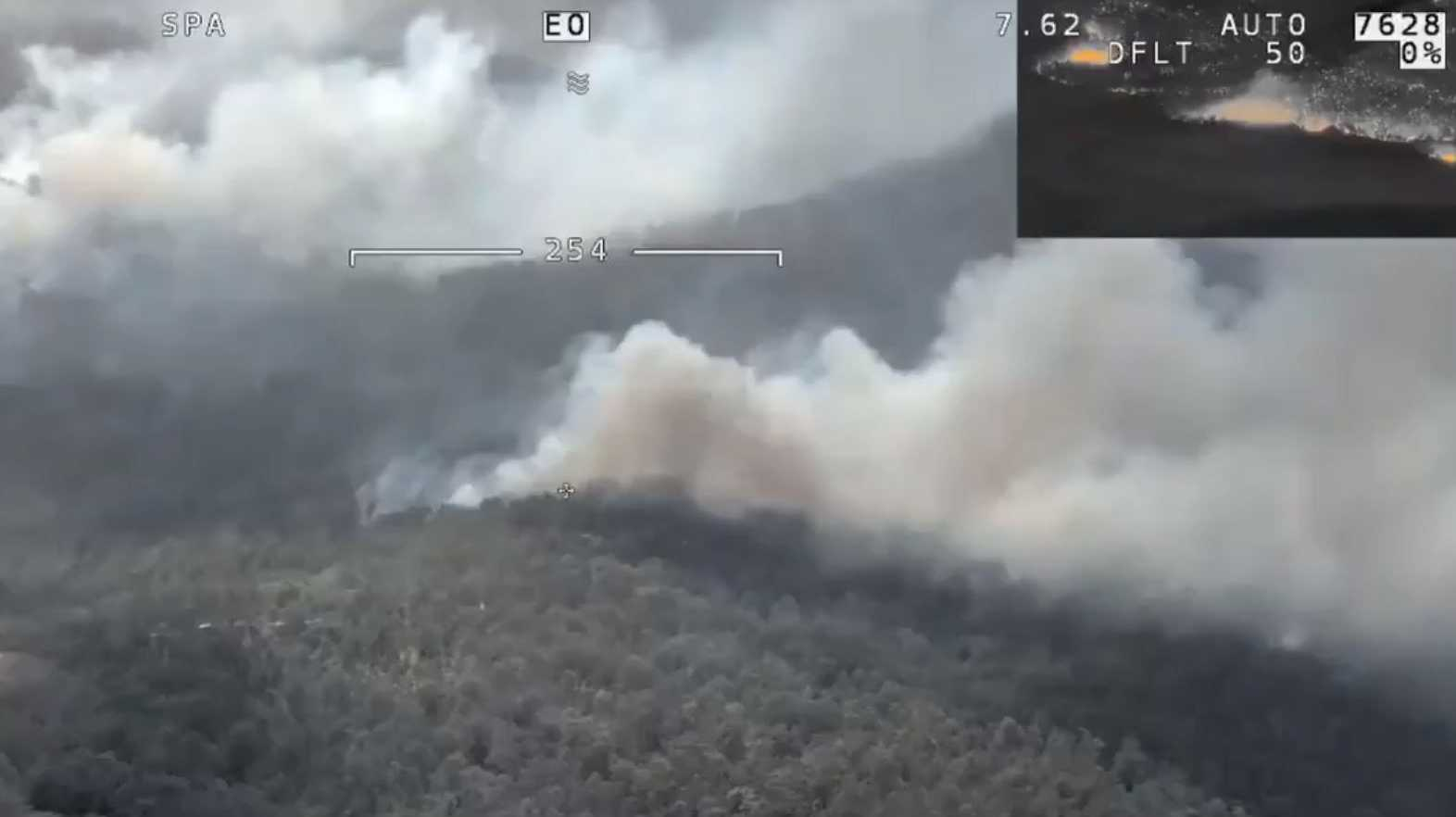 An aerial image of the Busbys Flat Rd bushfire, taken by the RFS.
