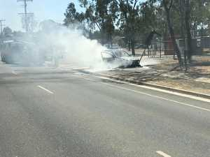 See the moment fire destroys a car in North Rockhampton