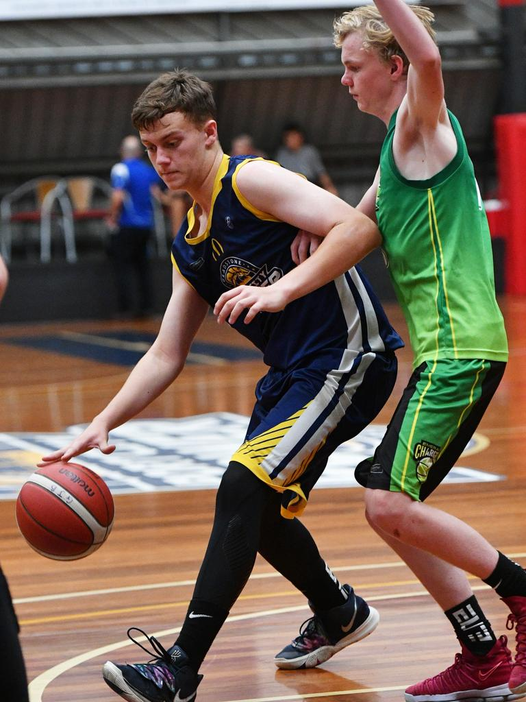 Gladstone Power's Owen Gardiner in the under 18s first game of the Central Queensland Junior Basketball Carnival on Saturday October 5.