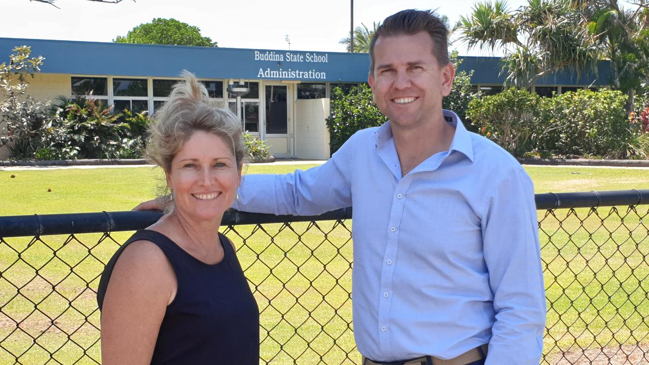 Member for Kawana Jarrod Bleijie with Buddina State School P&C president Karen Earp. Photo: Contributed