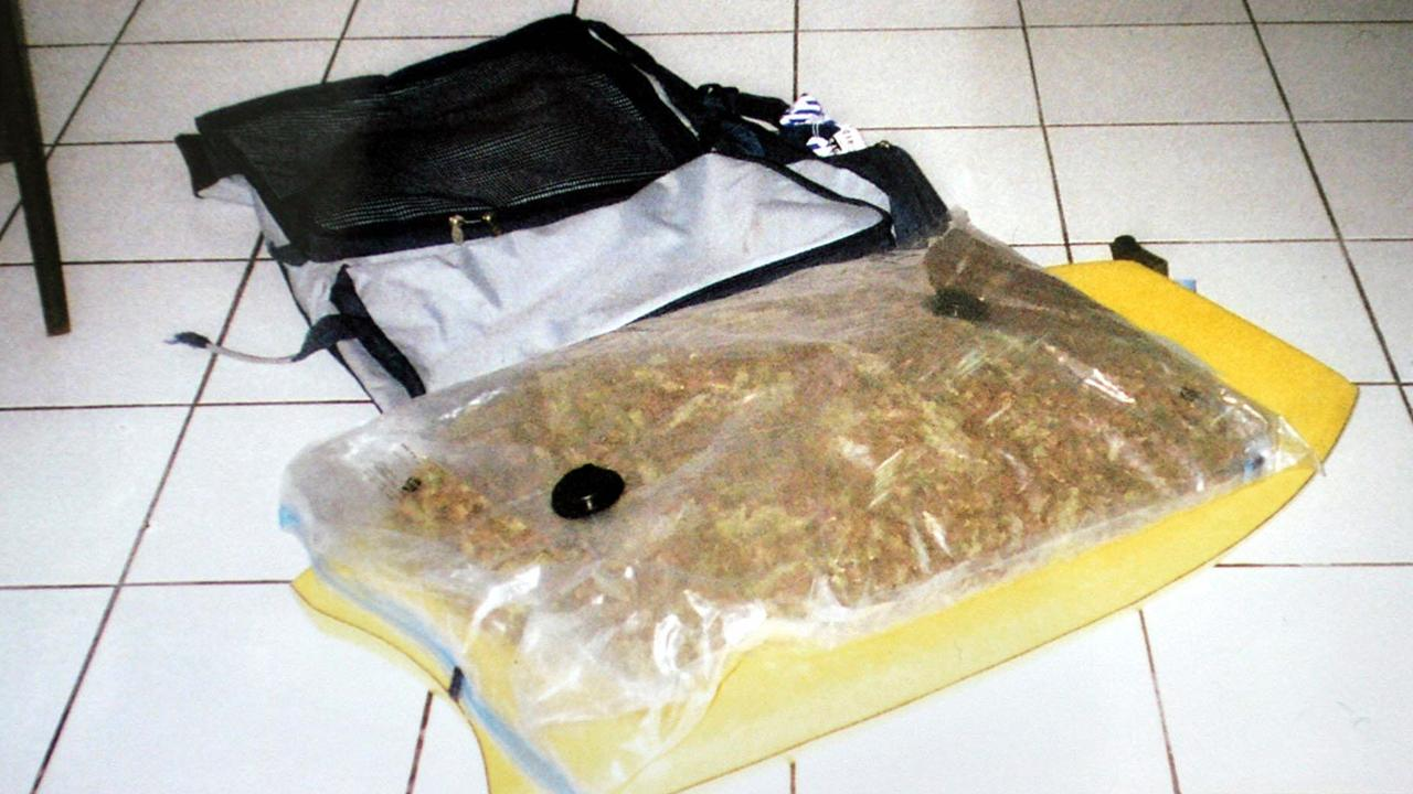 The bag of marijuana found in Corby's bodyboard bag on this day in 2004.