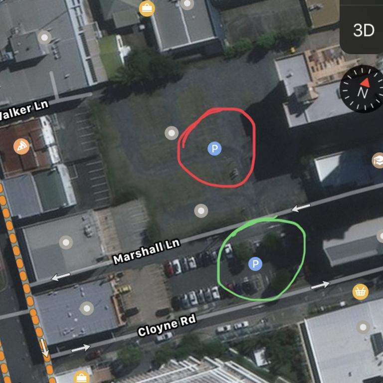 Mr Henderson thought he was paying for a full day on Cloyne Road (green) in Southport, but the EasyApp Park app automatically chose the wrong neighbouring carpark on Marshall Lane (red) instead. Picture: Supplied