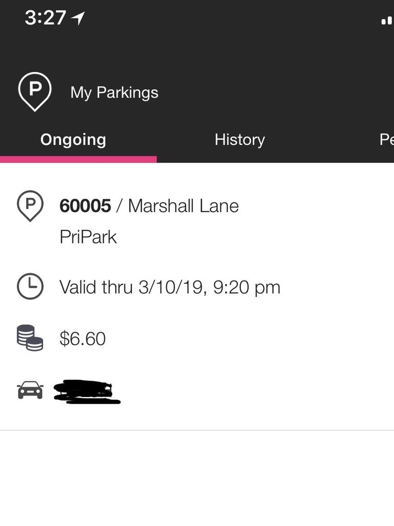The EasyApp Park app automatically chose the wrong neighbouring carpark on Marshall Lane instead. Picture: David Henderson
