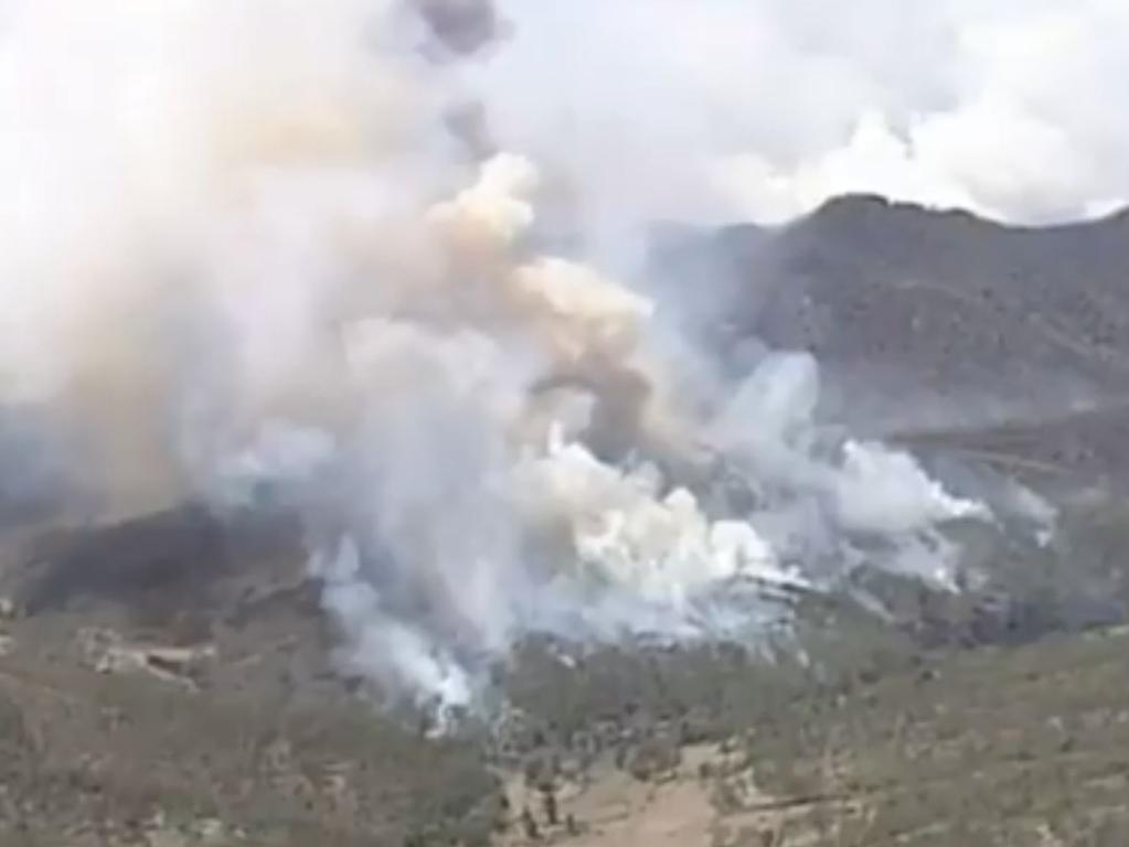The Lockyer Valley fire is threatening homes. Picture: Nine News/Channel 9
