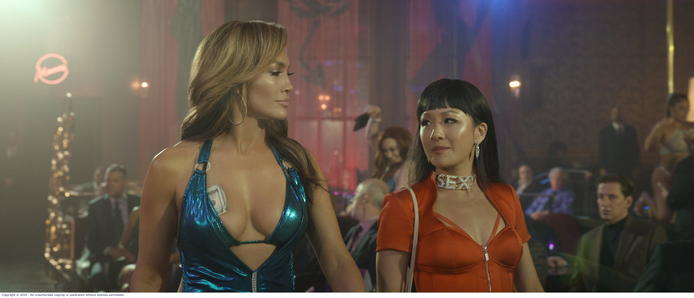 Jennifer Lopez and Constance Wu star in the movie Hustlers.
