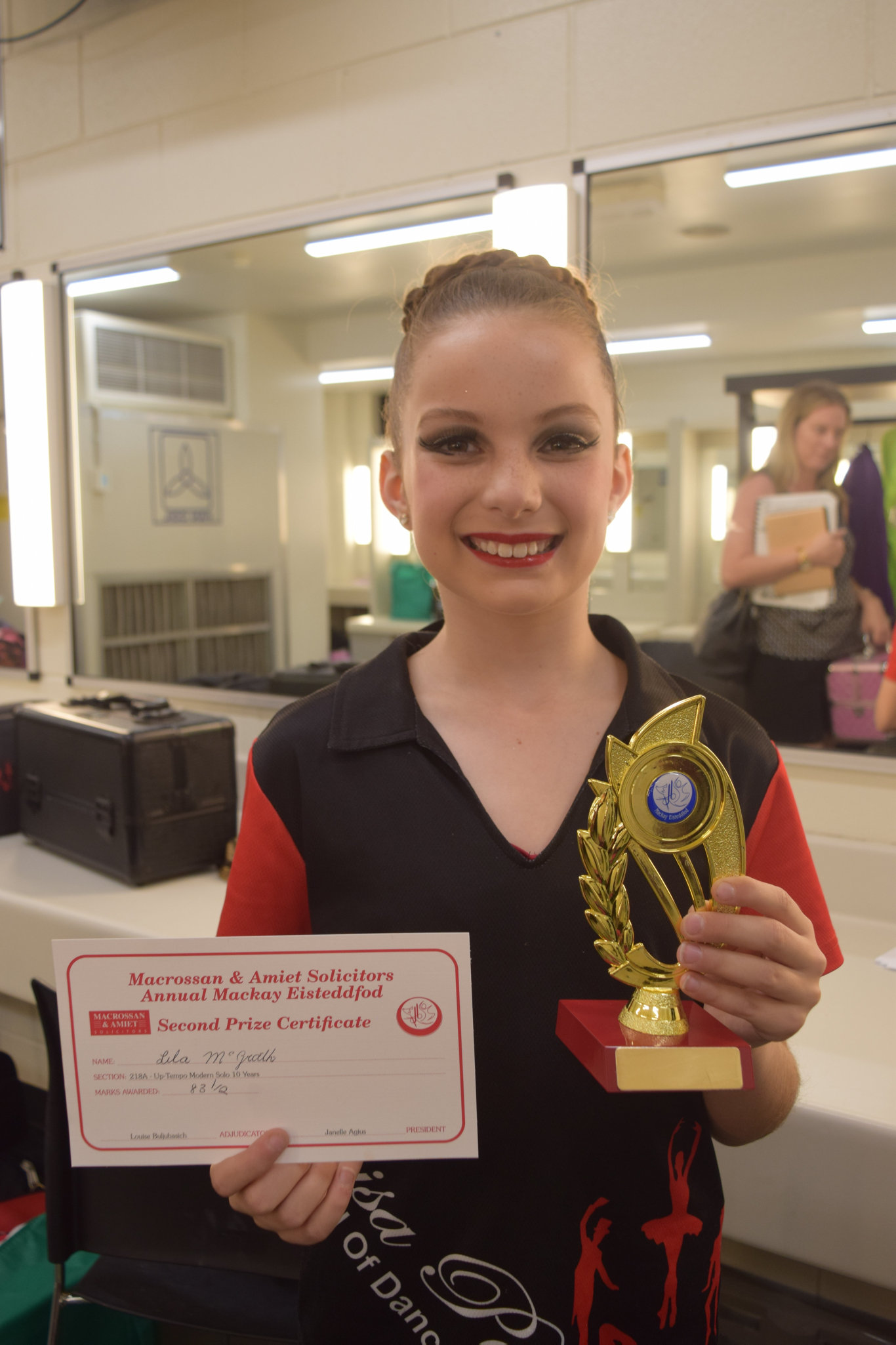 Lila McGrath, 10, from Leisa Payne School of Dance came second in her up-tempo modern jazz solo.