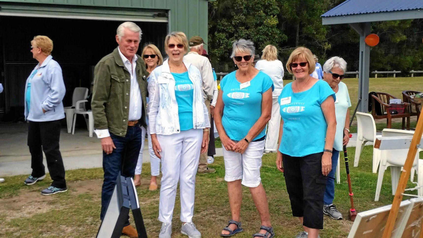 TIME TO CELEBRATE: Geoff Provest, NSW Member for Tweed; Carol Vimpani, President Pottsville Fun Croquet; Pat Curtis and Edwina Ryan, Secretary; celebrate the completion of the the club's shelter with a morning tea.