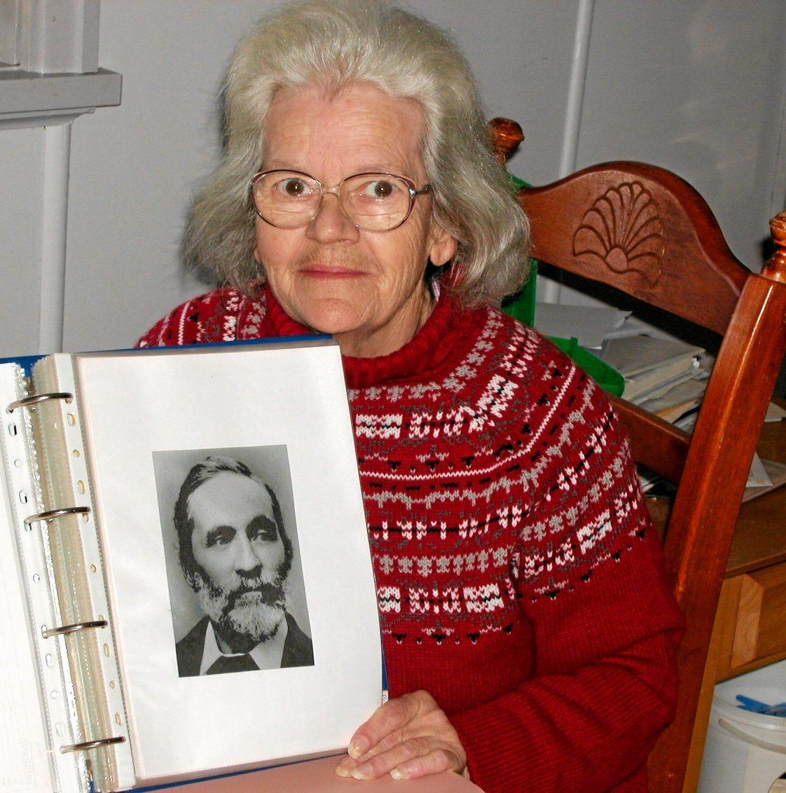 Gail Clerke, who was a distant relative of Frederick Roche, lived in Dalby for a time. She displays a portrait of Frederick Roche.
