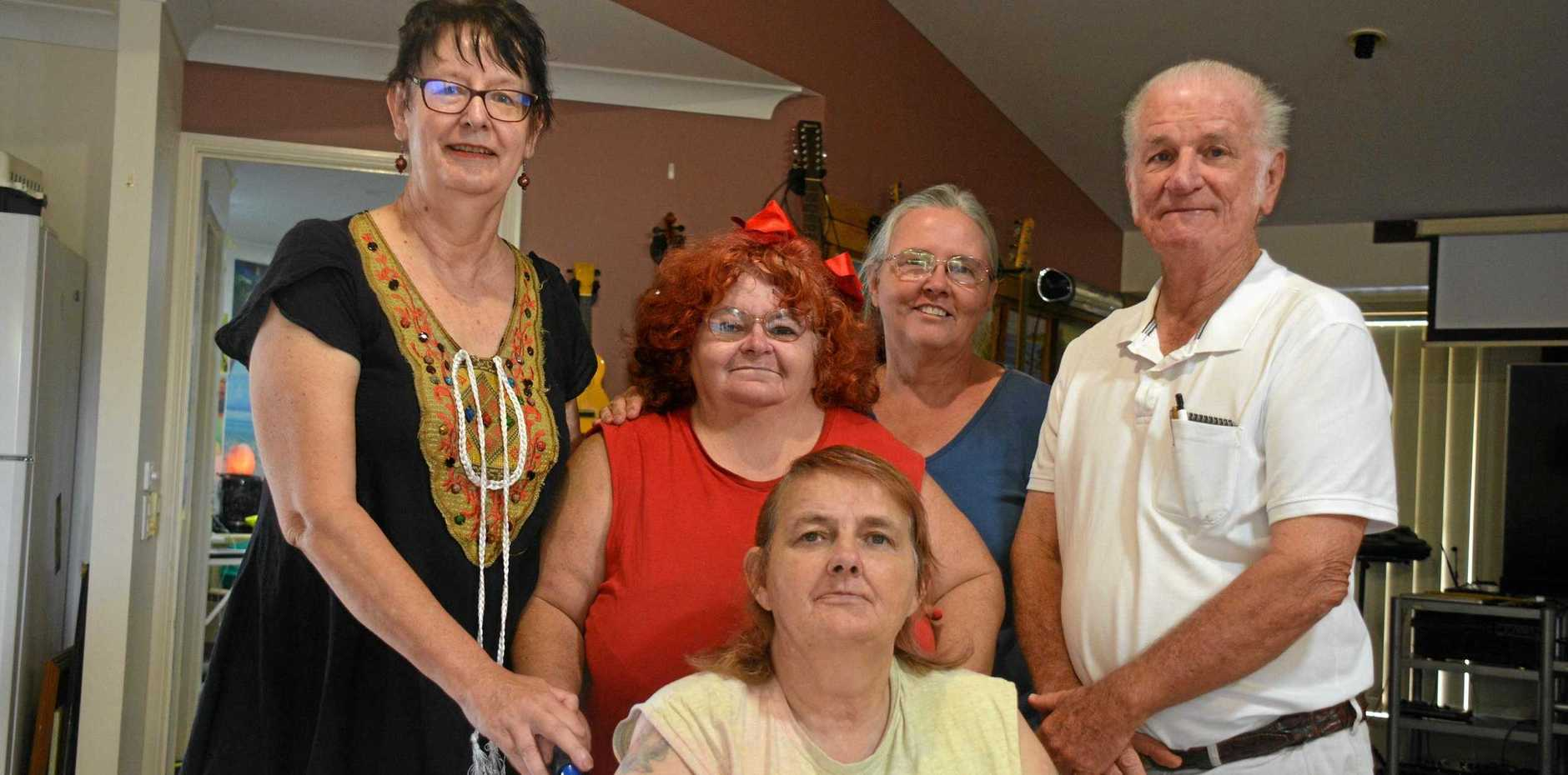 BIG LOSS: Former committee members Mandy James, Sue Miller, Rhonda Trivett, Jenny Larkin and Ron Hartley made the decision to dissolve the South Burnett Peace of Mind organisation earlier this year. Founder Rhonda Trivett has now decided to start up a business of the same name to continue its work.