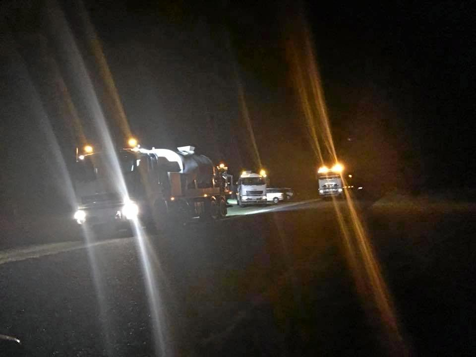 Three water tankers sent to Rappville by Richmond Valley Council  were trapped in the village last night.