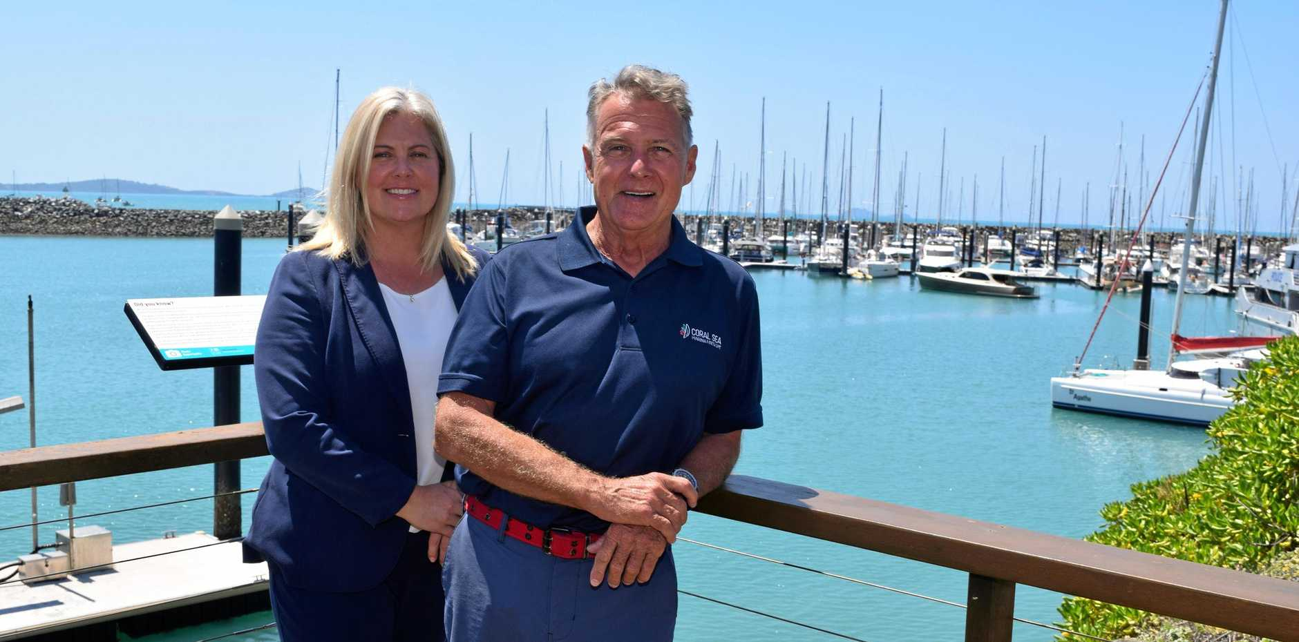 Coral Sea Marina Resort general manager Kate Purdie and owner Darrouzet are pleased with their Platinum 5 Gold Anchor accreditation under the Global Gold Anchor Scheme.