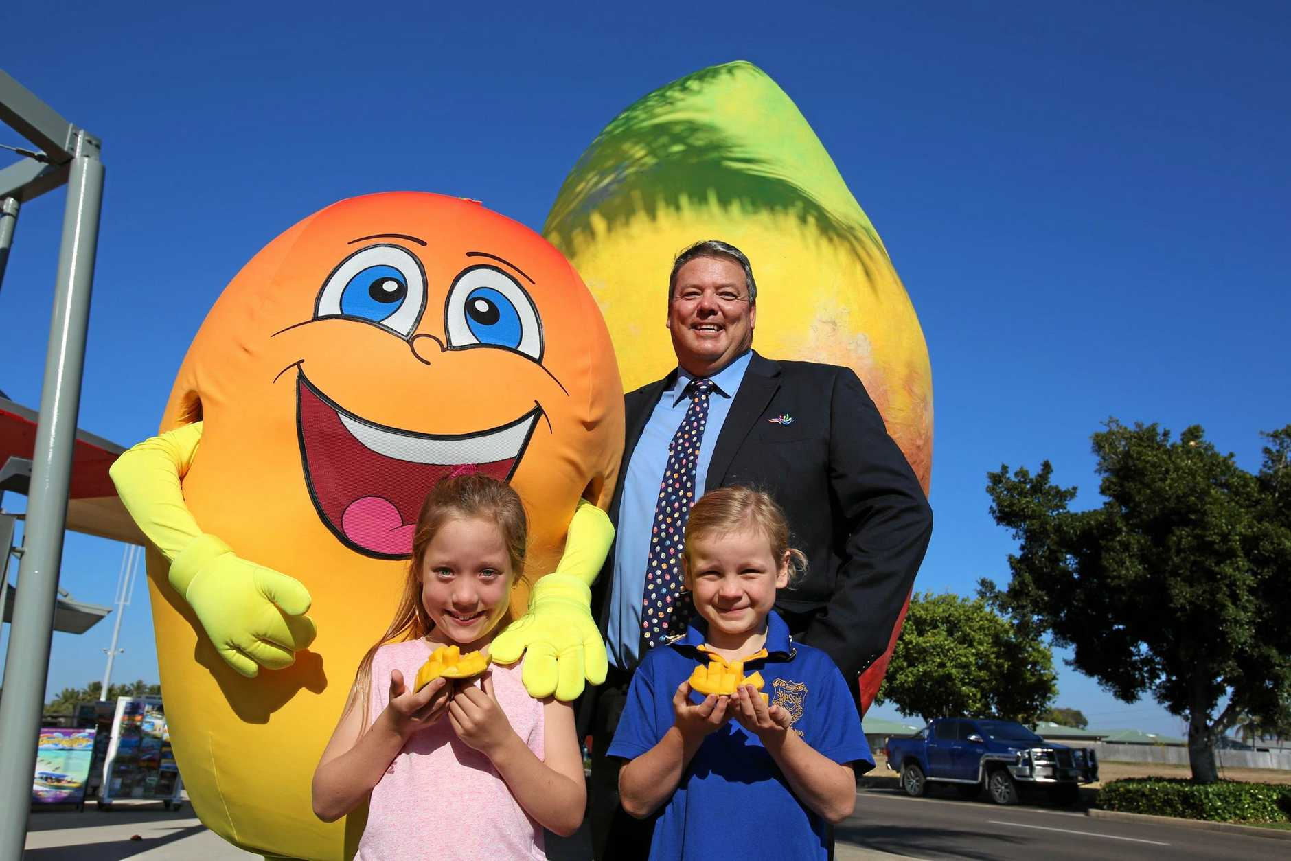FESTIVAL FEVER: Kenny the Mango joined Whitsunday Regional Council Mayor Andrew Willcox and young Bowen locals Jordyn Barnes and Emma Short to kick start Bowen's campaign for a festival of mangoes.