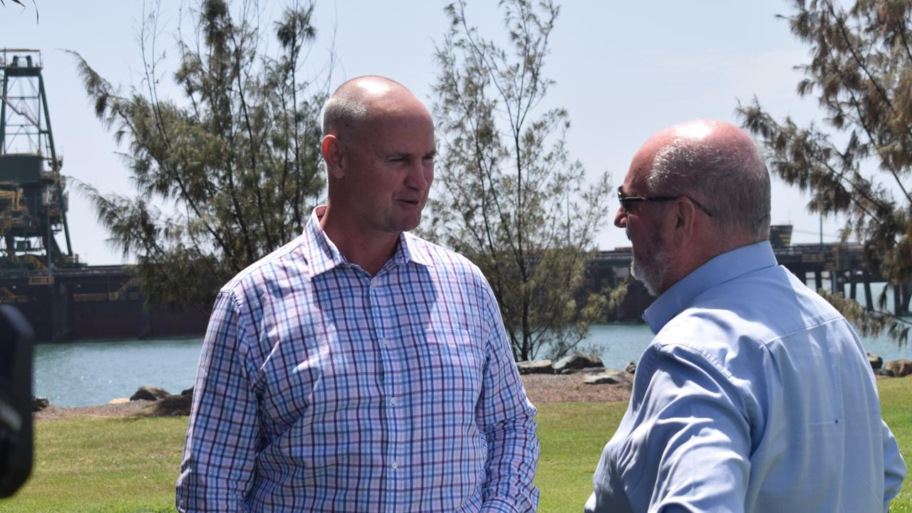 Labor's Gladstone MP Glenn Butcher and LNP Burleigh MP and Shadow Minister for Energy Michael Hart share a moment together in Gladstone after both held press conferences at the same location only minutes apart. Both were discussing the closure timeline of Callide B Power Station.