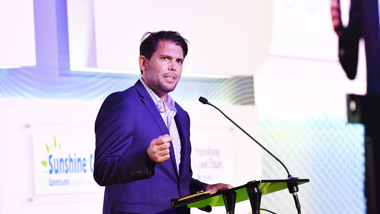 Noosa Tourism's Steve McPharlin makes the case for greater sustainability in the industry at the Sunshine Coast Daily's Future Tourism Forum at the Sunshine Coast Convention Centre. Photo Patrick Woods / Sunshine Coast Daily.