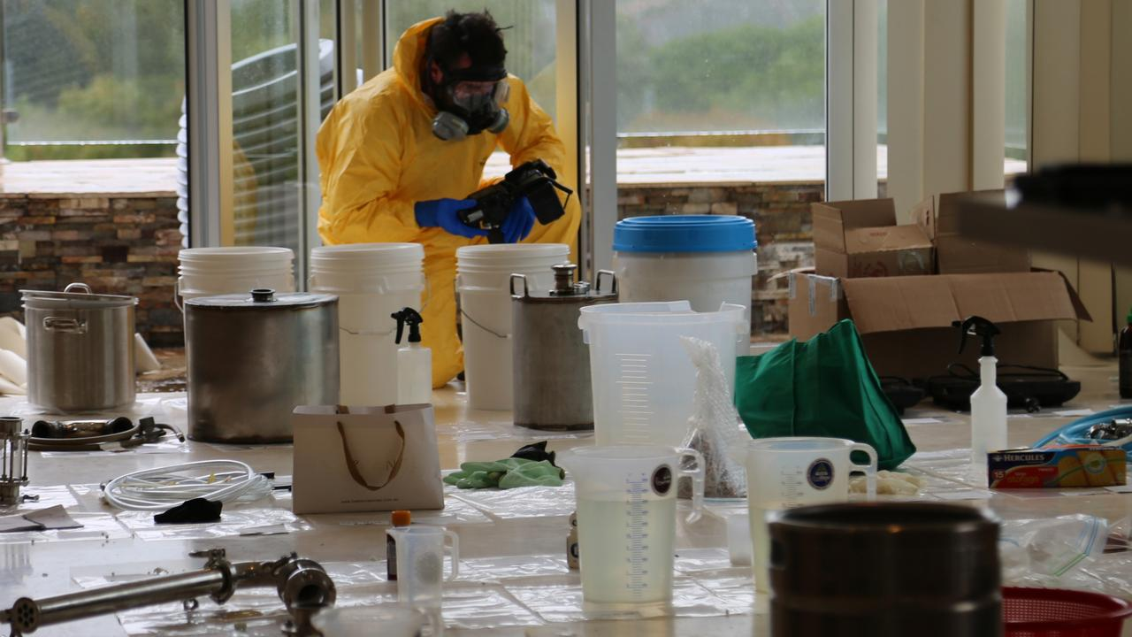 A clandestine drug lab uncovered at a home in Sydney's inner West earlier this year.
