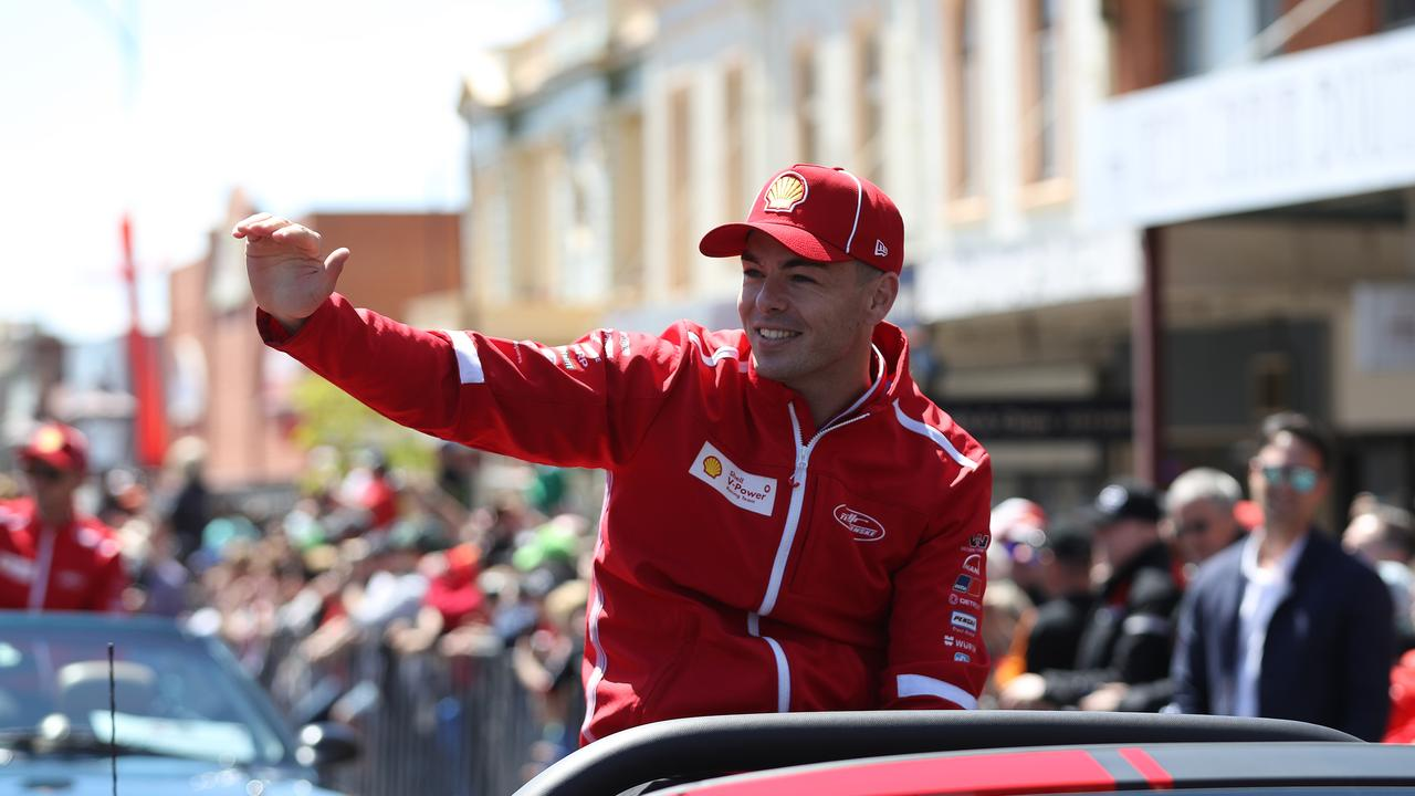 BATHURST, AUSTRALIA — OCTOBER 09: Scott McLaughlin driver of the #17 Shell V-Power Racing Ford waves to fans during the drivers parade ahead of the Bathurst 1000, which is part of the Supercars Championship at on October 09, 2019 in Bathurst, Australia. (Photo by Robert Cianflone/Getty Images)