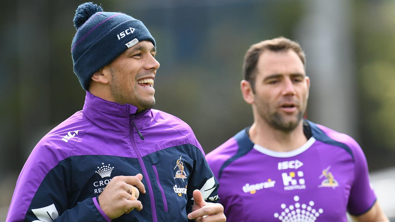Will Chambers (left) and Cameron Smith have officially played their last game together. Picture: AAP Image/Julian Smith