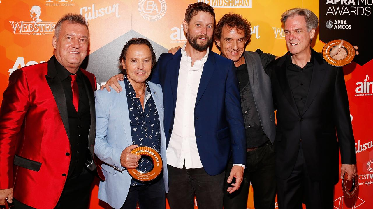 Jimmy Barnes, Phil Small, Ben Quilty, Ian Moss and Don Walker pose after Cold Chisel Won The Ted Albert Award for Outstanding Services to Australian Music during the 2016 APRA Music Awards. Picture: Getty Images