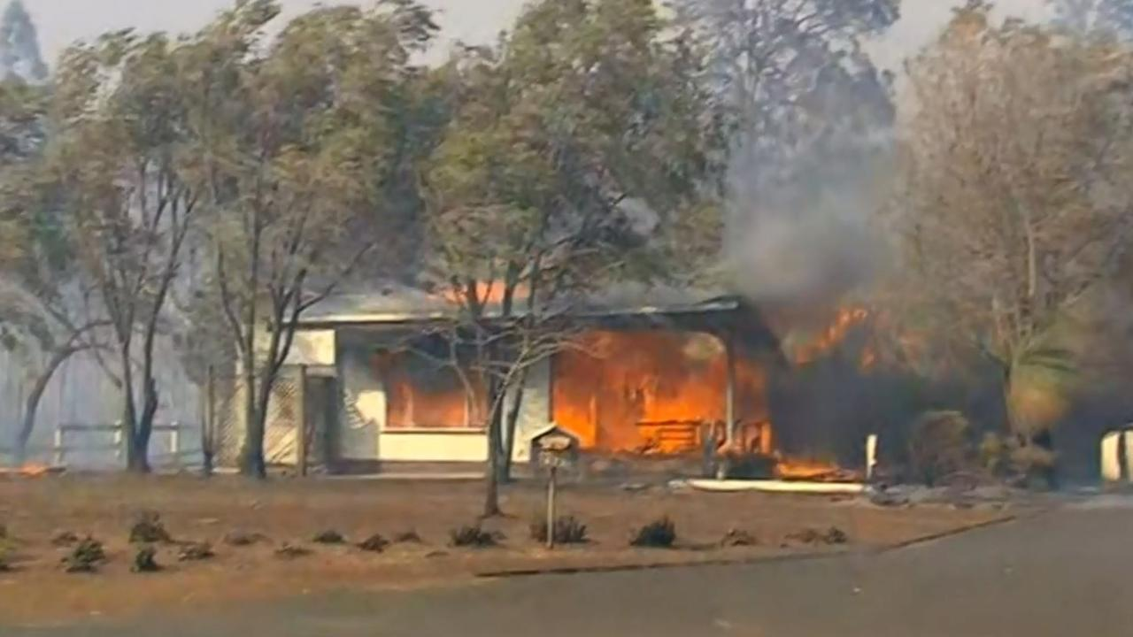 The blaze takes hole of a home in Grafton. Picture: Nine News