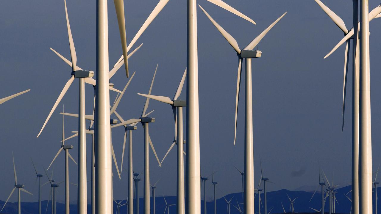 A wind turbine farm. (AP Photo/Matt Young).