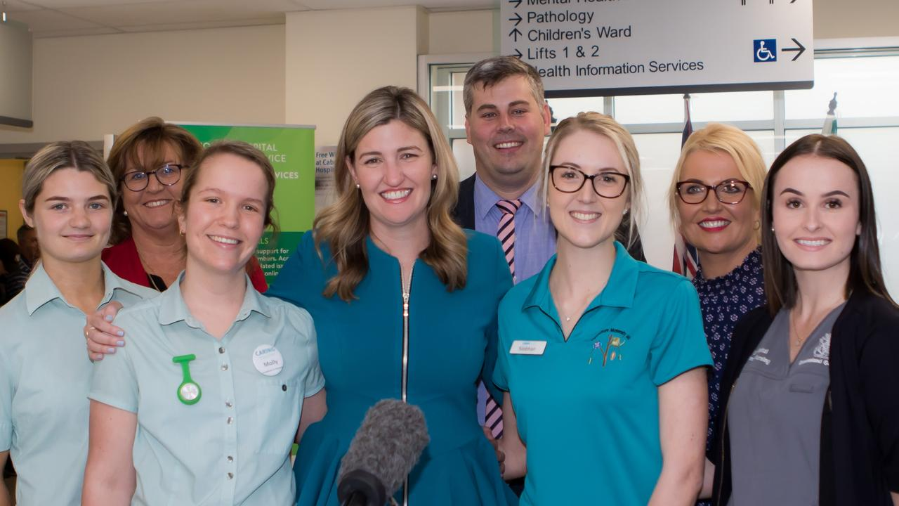 Ministers Shannon Fentiman and Mark Ryan at the Caboolture Hospital with nurses from TAFE and school-based programs. Photo: Yvonne Packbier.
