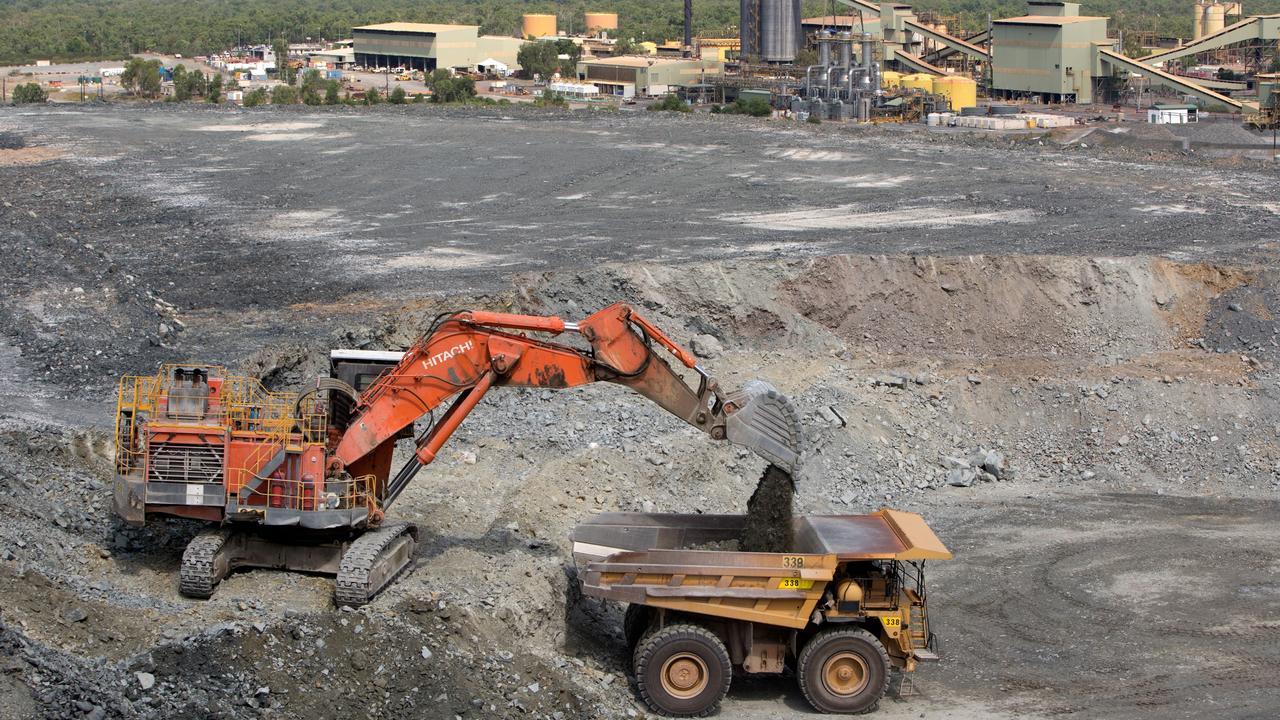 Stockpiled ore loaded onto a Haul Truck Ranger mine. Mining operations at ERA's Ranger Uranium Mine, including rehabilitation and revegetation at Jabiluka — November 2016. Picture: ERA