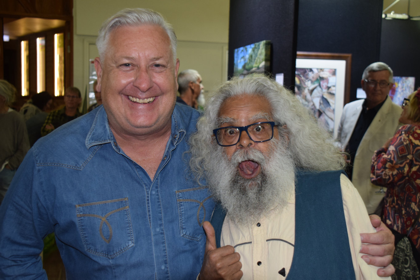 GOOD MATES: Ian 'Dicko' Dickson with Jack Charles at the Obi Art Prize at the Maleny Community Centre.