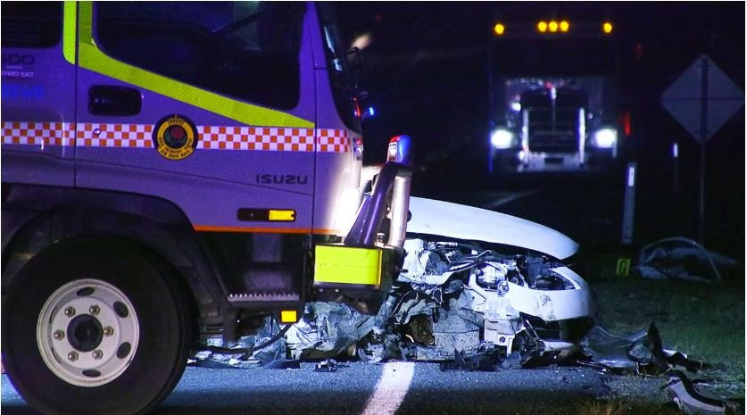 ANOTHER FATAL: The scene of a three vehicle crash on the Pacific Highway at Glenugie on October 4.
