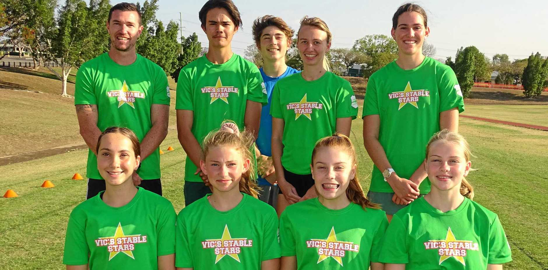 RUNNERS TO WATCH: Ipswich and District Athletic Club competitors preparing for this weekend's Somerset Gift: Patrick McCarthey, Kerryn Ryan, Jack Vine, Elizabeth Melrose, Madison Wells, Leah Clark, Lily Vine, Savannah Bucknell and Mikaela Doneley. Absent: Hayley and Erin Wright and Danhniella Pedroni.