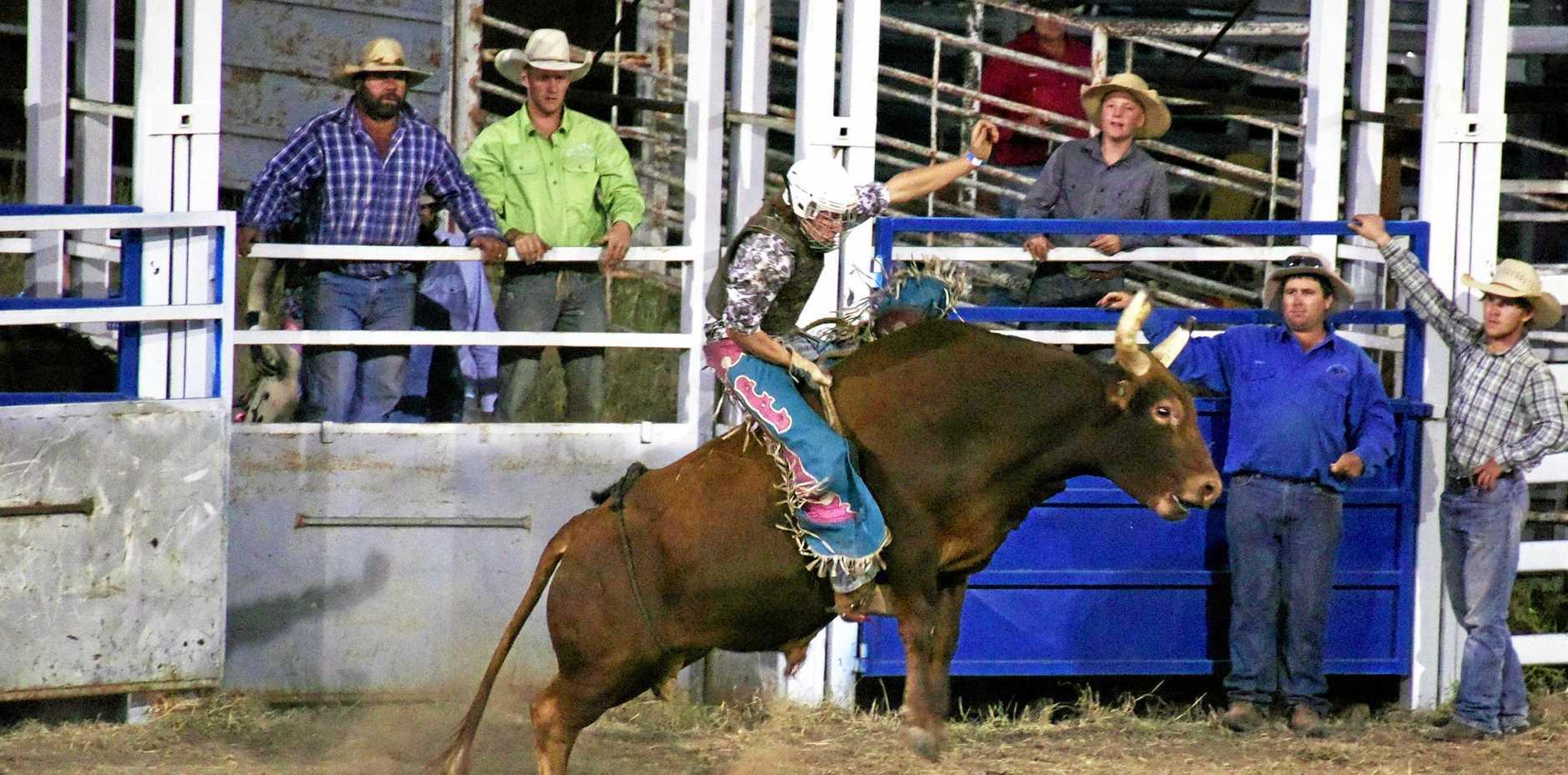 BUCKING BULL: Charleville's Tyson Burke in the Novice Bull event at the Injune Rodeo.