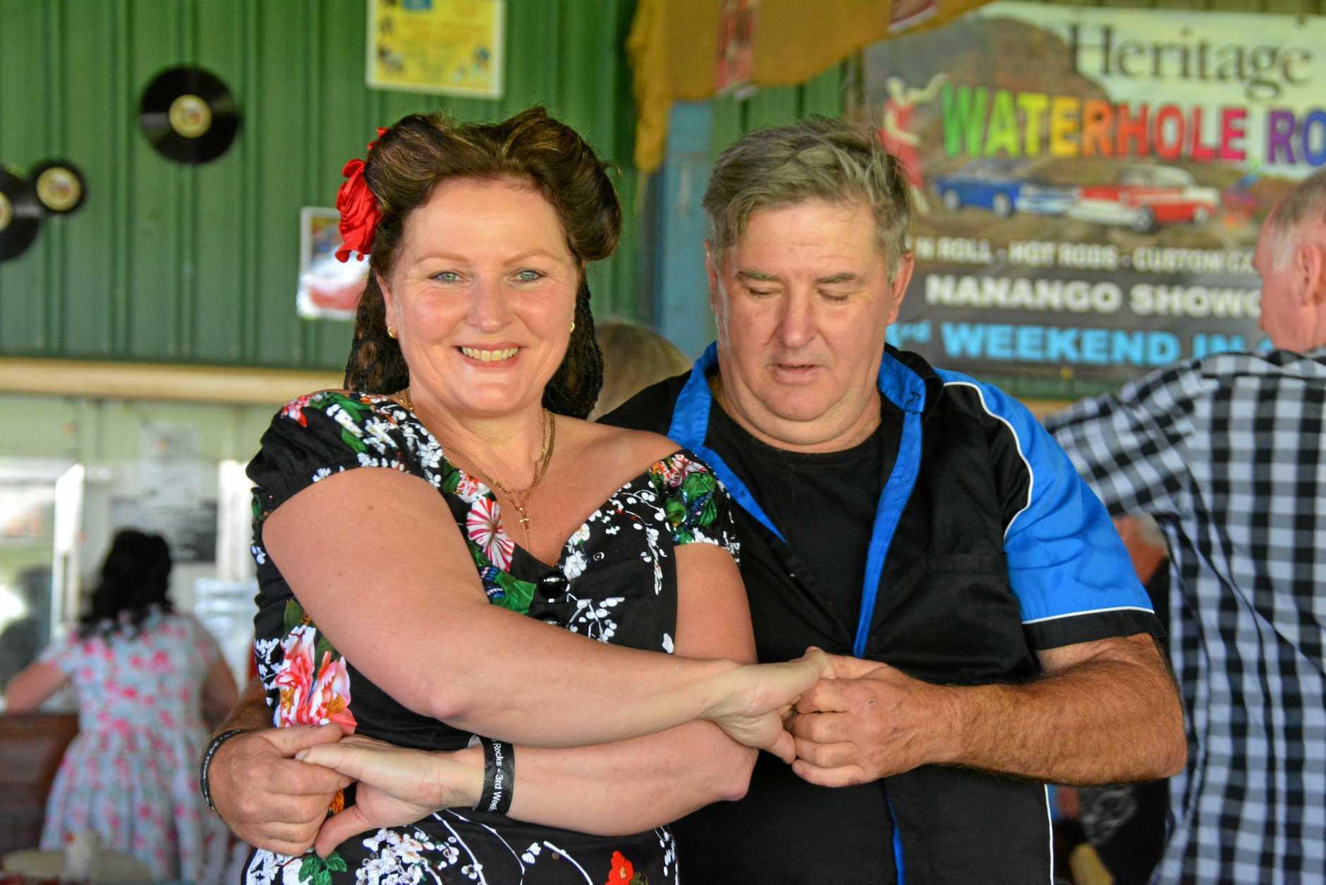 DANCE: Gillian Williams and Gordan Boatfield dance along to the rock 'n' roll music at the Waterhole Rocks festival in Nanango.