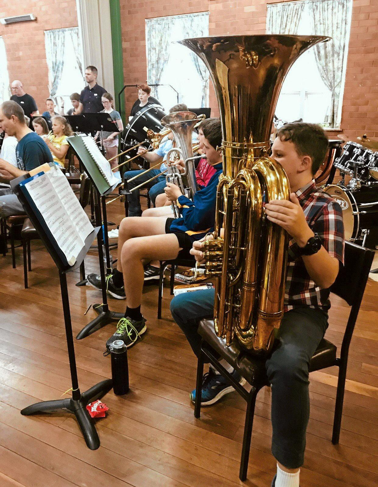 Members of the South Burnett Youth Orchestra playing their hearts out at rehearsals.