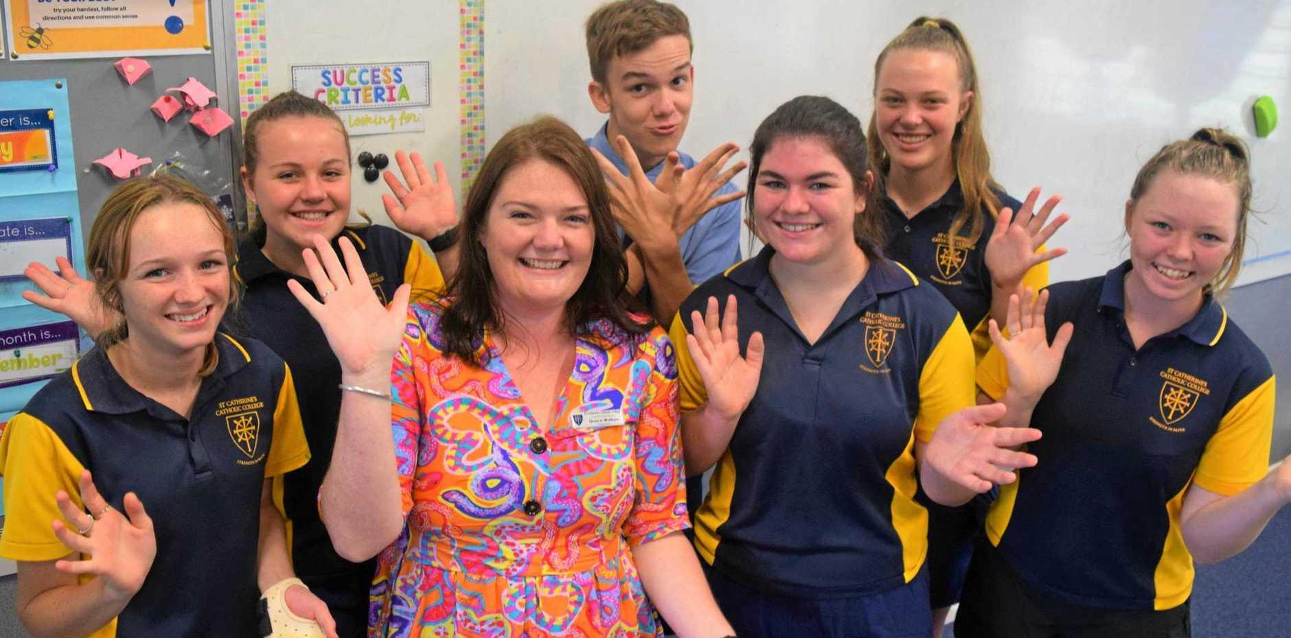 Miss Grace Watson with students (back) Zac Maynard, (middle) Taylor Porter, Jessica Porter, (front) Tegan Gravelle, Stella Maloney and Sam Biley.