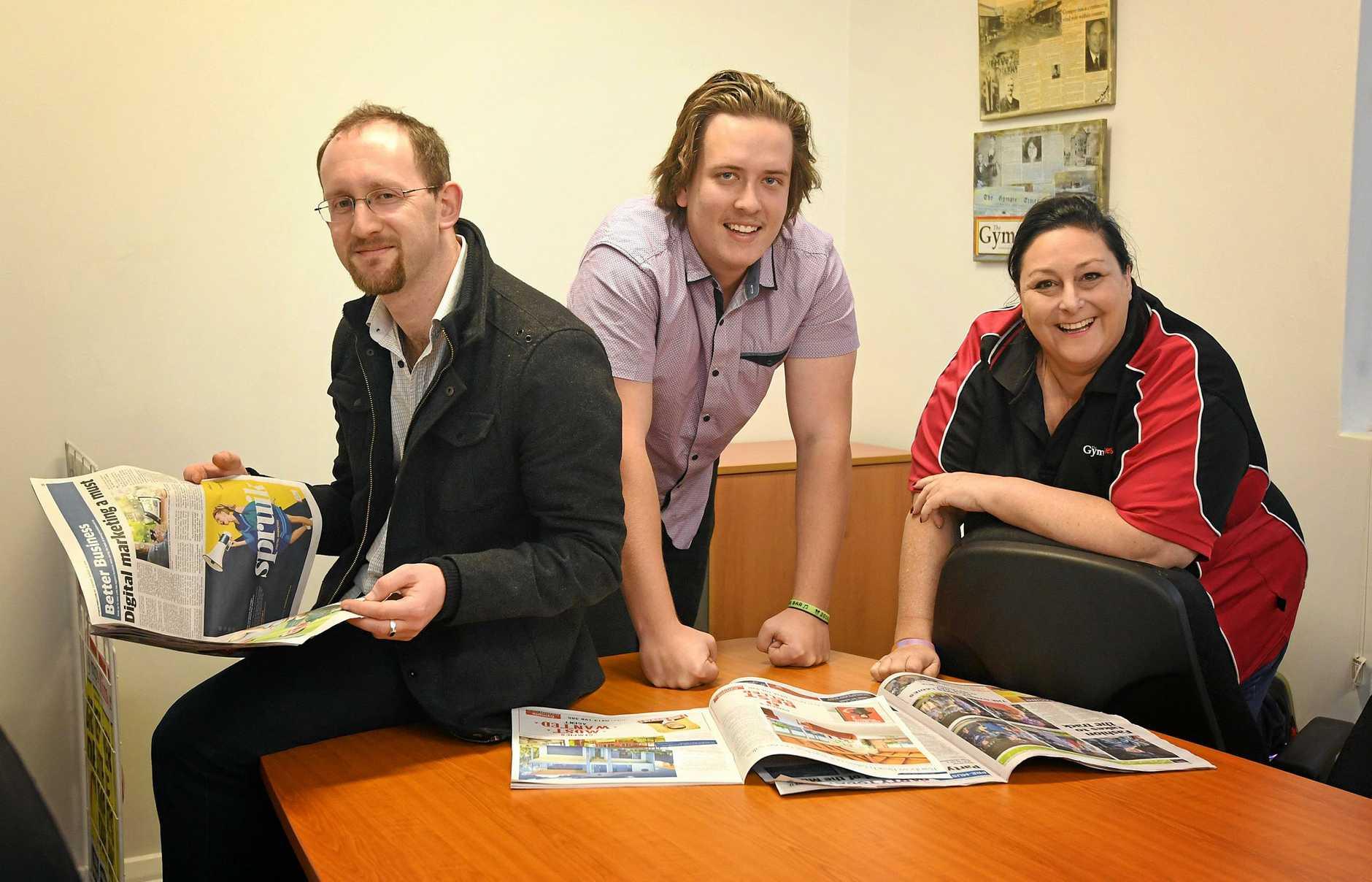 Gympie Times journalists Scott Kovacevic, Josh Preston and Donna Jones.