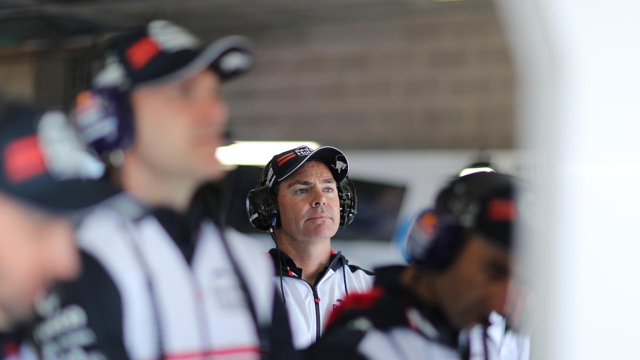 Craig Lowndes watches Jamie Whincup produce an excellent lap on Thursday.