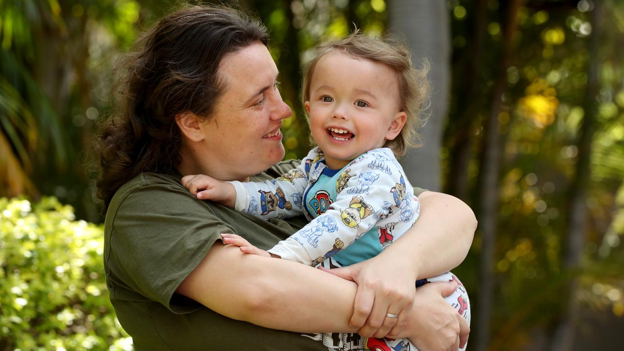 Padstow mum Brooke Masmela, with her son Elisha, supports a welfare drug test trial. Picture: Jonathan Ng