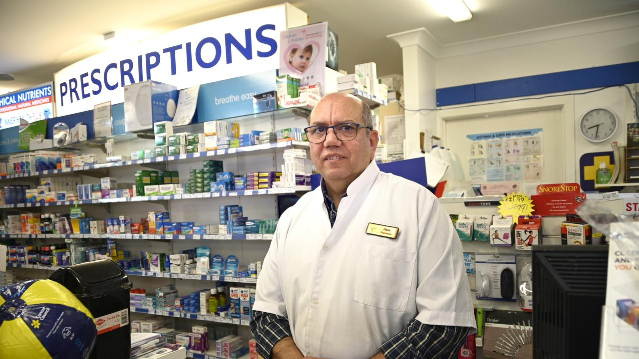 Pharmacy owner Sam Tanous, Moreton & Coots Pharmacy Margaret St, was the victim of an armed robbery late Wednesday afternoon.