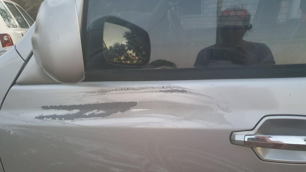 VEHICLE VANDAL: Couple's new car covered in paint stripper by stranger.