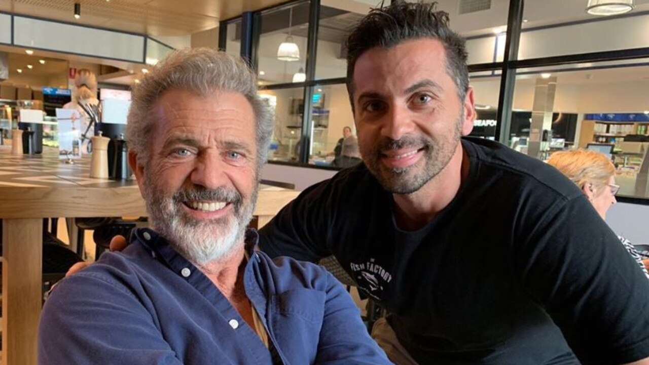 Mel Gibson at The Fish Factory at Morningside today with owner Chris Savva.