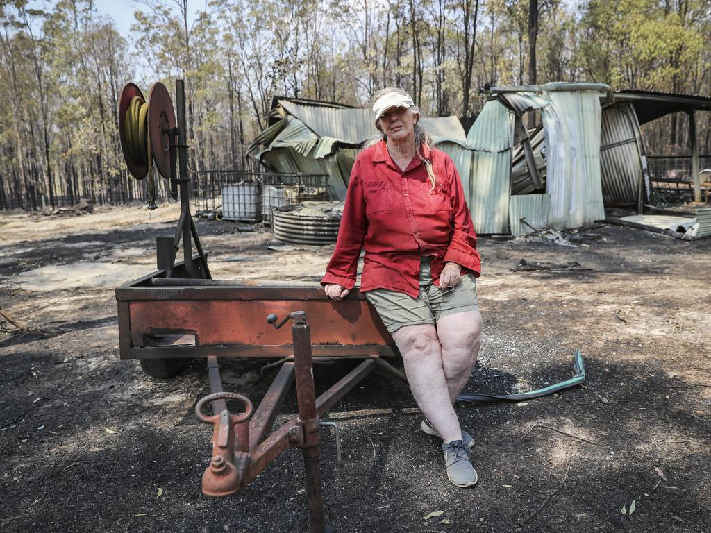 Ruth Harriman, 68, pictured on her property in the Ewingar area where she managed to save her house with a water tank on the back of her ute. Picture: Dylan Robinson