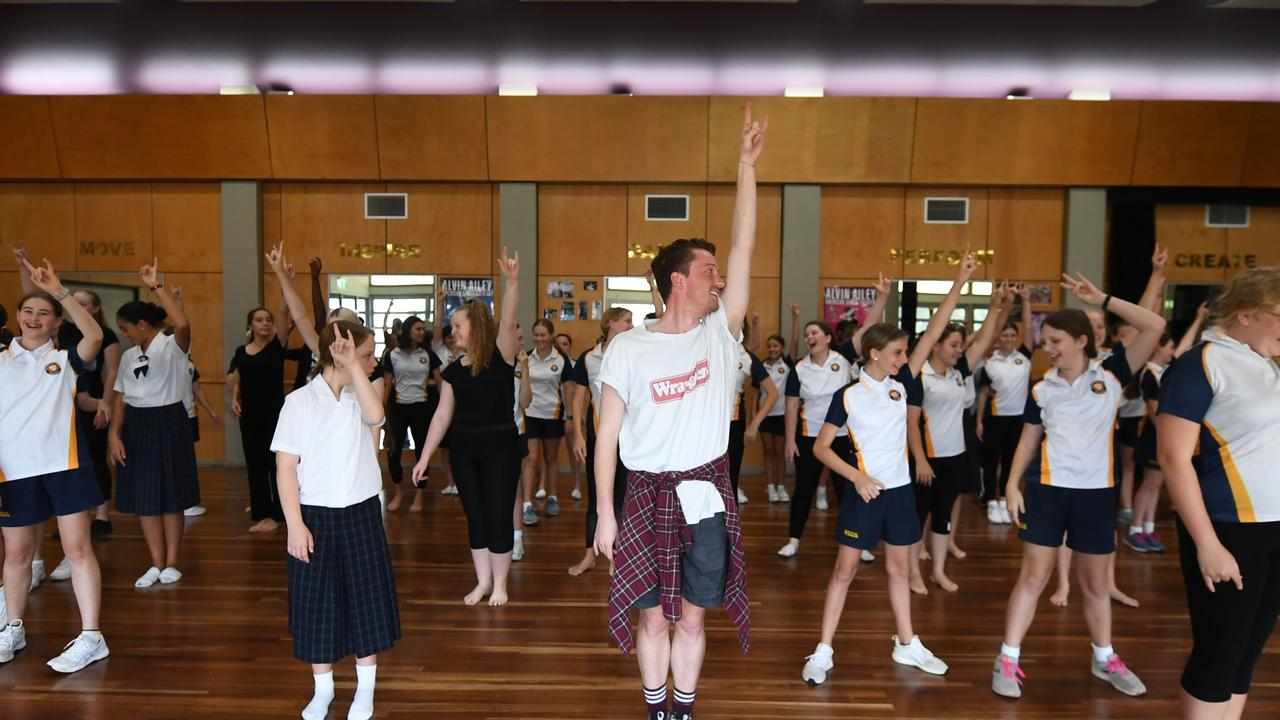 Rockhampton Girls Grammar School students have a workshop with Rock of Ages the Musical cast and crew.