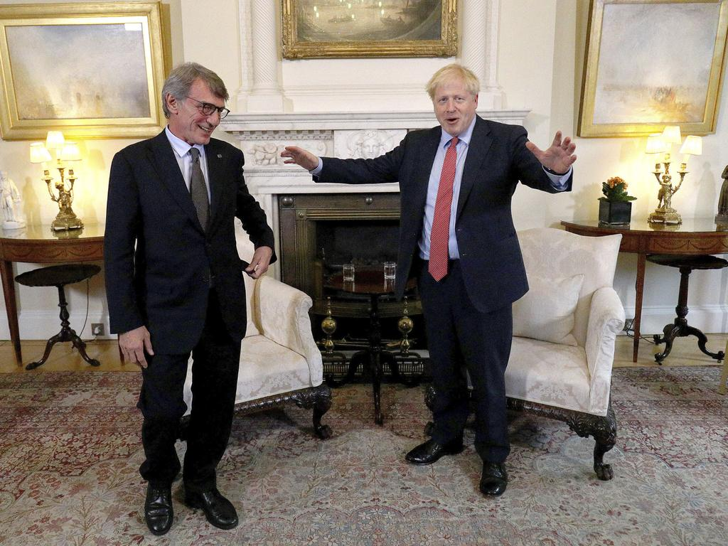 President of the EU Parliament David Sassoli and Mr Johnson. It remains unclear how Mr Johnson will avoid asking the EU for a Brexit extension. Picture: AP
