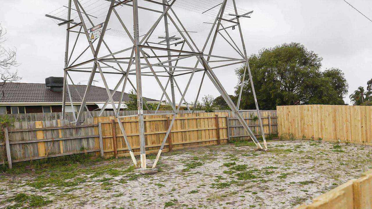 A new Clarinda unit block in Clarinda features a gigantic electrical tower in the backyard. Picture: Valeriu Campan